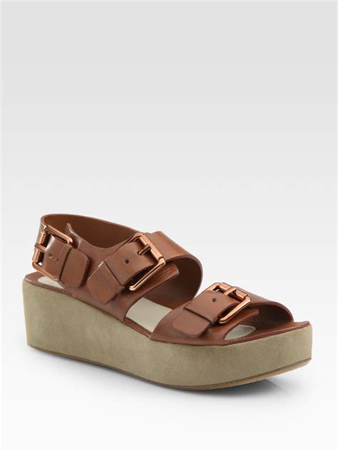 buckle sandals kors by michael kors zoe leather and suede platform buckle