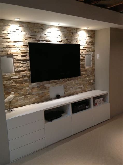 Basement stone entertainment center with ikea cupboards