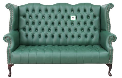 High Back Chesterfield Sofa Green Chesterfield 3 Seater High Back Wing Sofa Designersofas4u