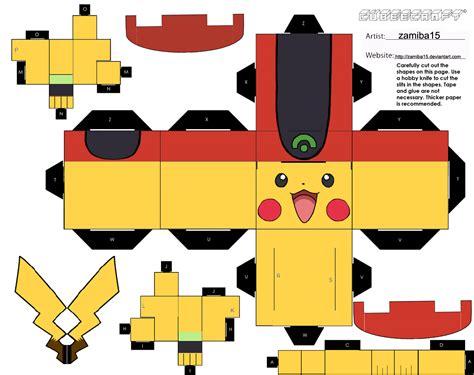 Papercraft Pikachu - pikachu ash s clothes 1 cubee by zamiba15 on deviantart