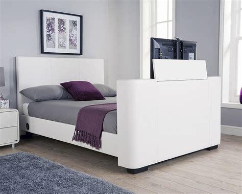 Bedroom Furniture Tv Bed Newark 135cm Electric Tv Bed White Amc Furniture