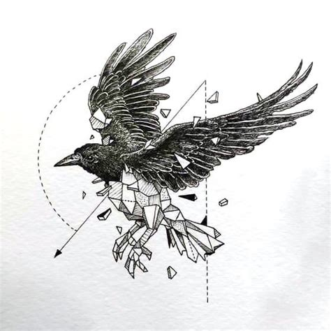 great geometric raven tattoo design