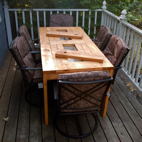Patio Wood Table White Patio Table With Built In Wine Coolers Diy Projects