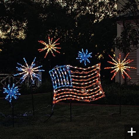4th of july outdoor light display red white blue pinterest