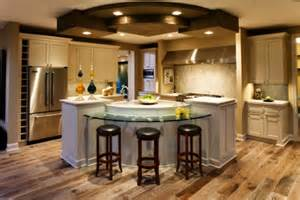 tremendous center kitchen island ideas with curved glass breakfast bar design
