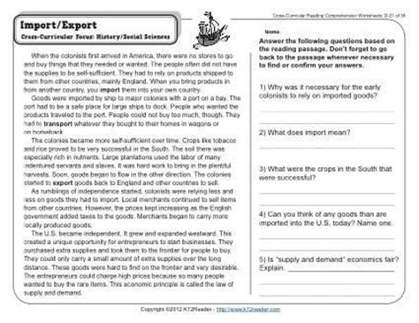 Reading Comprehension Worksheets For 4th Grade Choice by Import Export Cross Curricular Reading Comprehension