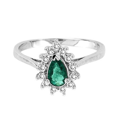 14k white gold pear shaped emerald and ring