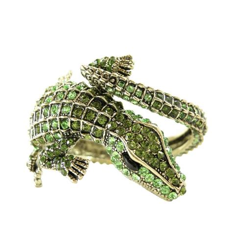 Signed Kenneth J. Lane Alligator Rhinestone Cuff Bracelet at 1stdibs