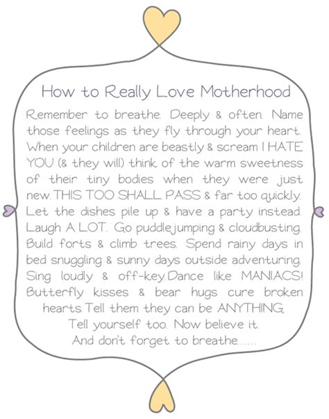 printable parenting quotes how to really love motherhood oh my handmade