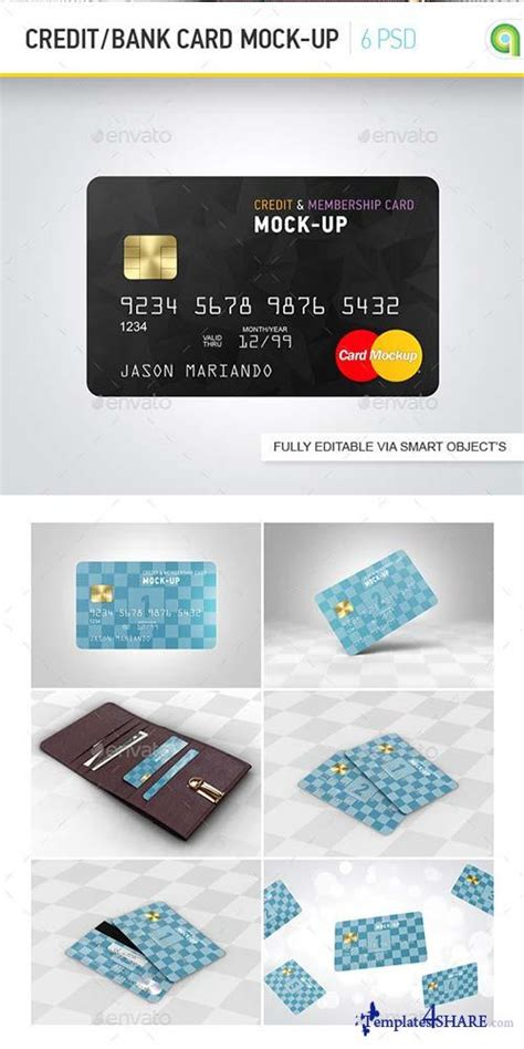 photoshop free membership card templates psd graphicriver credit bank card mock up 187 templates4share
