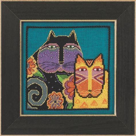cross stitch kits feline friends cross stitch kit aida mill hill 2015 laurel burch lb305116 ebay