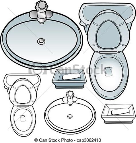 Bathtub Reading Vector Clipart Of Bathroom Set Toilet Sink Soapdish