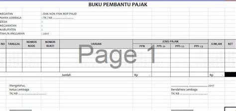 contoh format buku kas pembantu pajak format buku pembantu pajak lpj bop paud wadah belajar