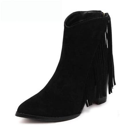 black suede stacked heel fringed ankle boots