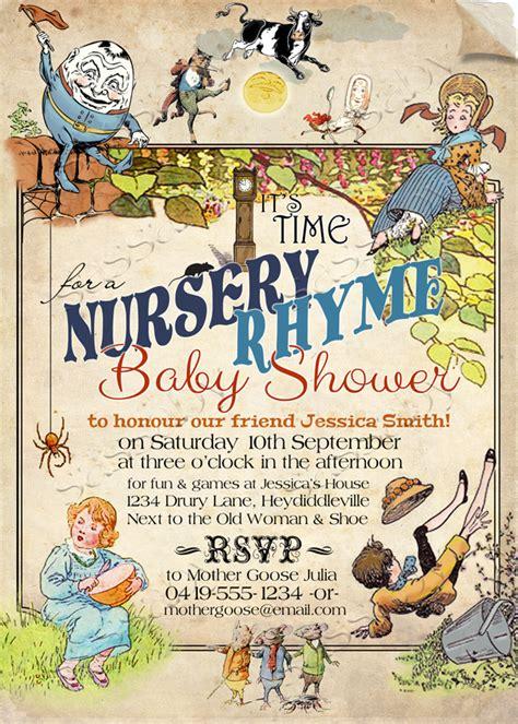 Baby Shower On Nursery Rhymes Nursery Rhyme Baby Invitation Sassaby