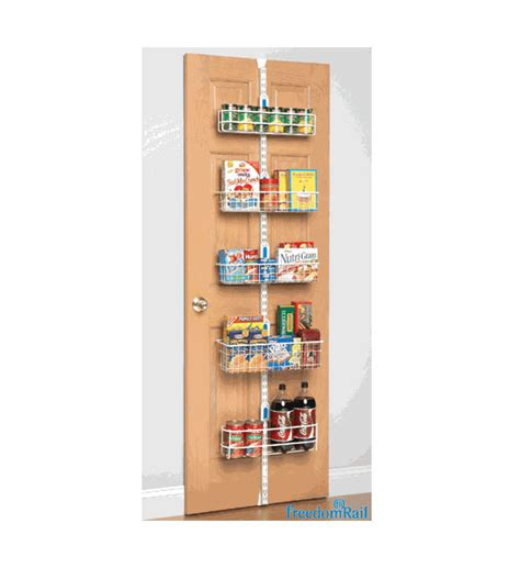 pantry door organizer freedomrail over the door pantry rack in over the door