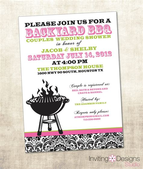 bridal shower ideas for couples 2 bbq wedding shower invitation couples shower invitation