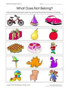 What In This Picture Does Not Belong by What Does Not Belong Worksheet 4 Worksheet For Pre K
