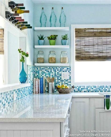 nautical kitchen backsplash coastal kitchens with blue backsplash tiles http