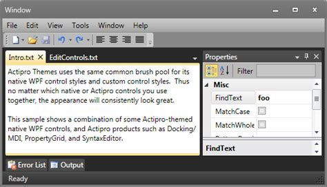 themes application com actipro themes for wpf