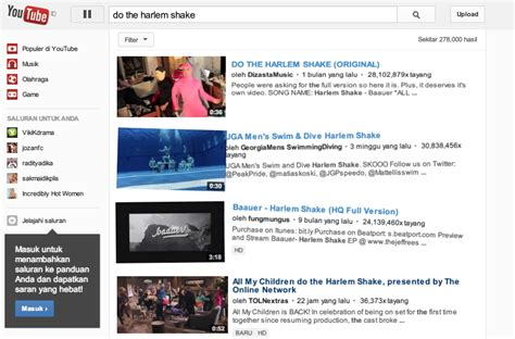 membuat youtube harlem shake wah video dan logo youtube bergoyang harlem shake media