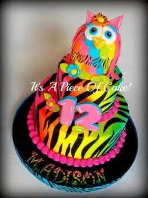 color cake 2tier neon colored owl zebra print cake cakes and