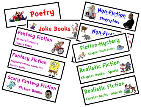 printable genre labels organize your classroom library free genre bin labels
