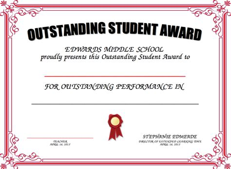 student of the week certificate outstanding student award