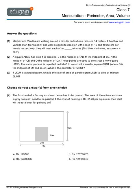 printable area word pdf grade 7 math worksheets and problems mensuration