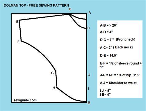 pattern drafting dolman sleeve dolman sleeve tunic top free pattern sew guide