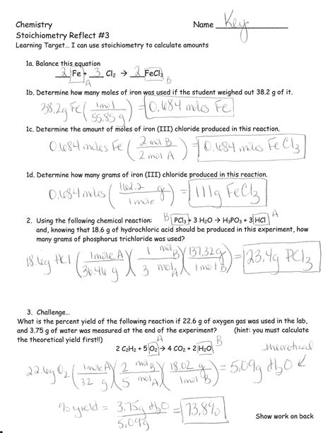 Stoichiometry Worksheet Answers by Stoichiometry Worksheet With Answer Key Lesupercoin