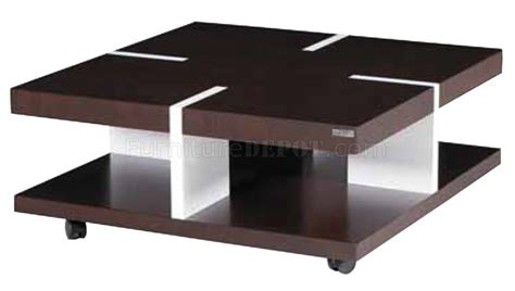 brown white solid wood modern coffee table w casters