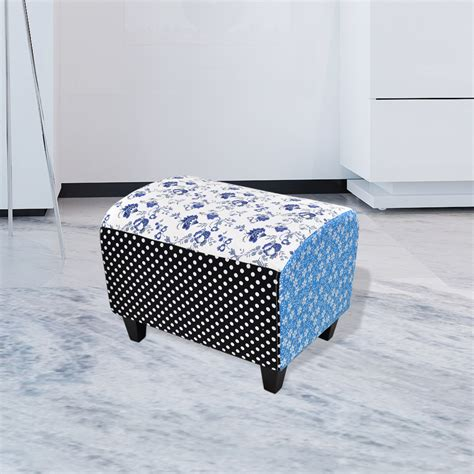 patchwork footstool ottoman country living style vidaxl