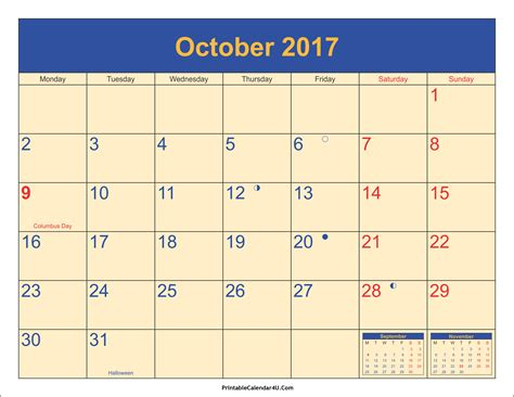 Calendar 2017 October With Holidays October 2017 Calendar Printable With Holidays Pdf And Jpg