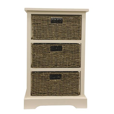 decor therapy end table decor therapy 3 basket white storage end table fr6338