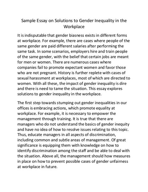 Gender Inequality Essays by Sle Essay On Solutions To Gender Inequality In The Workplace