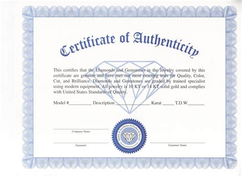 jewelry design certificate certificate of authenticity for gold jewelry style guru