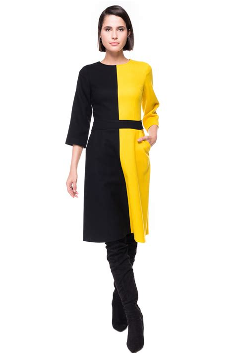 Ab Studio Twotone Dress two tone a line wool dress chemistry studio