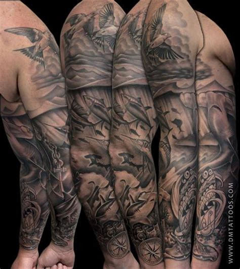 underwater sleeve tattoo black and grey underwater search ink