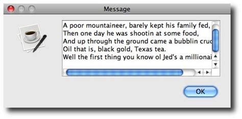 swing text box a java joptionpane showmessagedialog with scrolling text