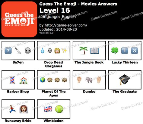 guess the film by emoji guess the emoji movies level 16 game solver
