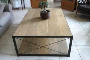 table basse table basse bois et acier pas cher