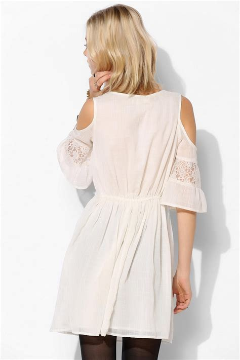outfitters band of gypsies gauze open shoulder dress