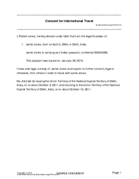 Consent Letter For Minor Passport India Child Travel Consent India Legal Templates