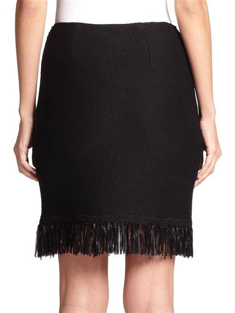 st fringe knit pencil skirt in black lyst