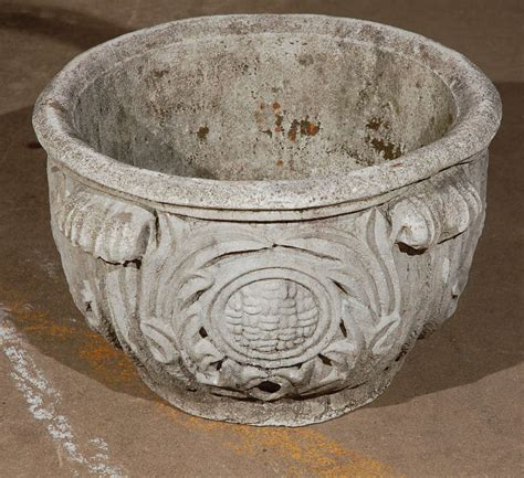 cast concrete planter with acanthus leaf detail at 1stdibs