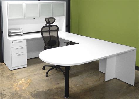 white u shaped desk white u shaped workstation w hutch