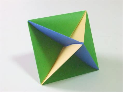 Origami Octahedron - modular polyhedra from waterbomb base units abstract
