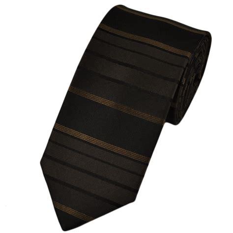 brown black horizontal striped silk narrow tie from ties
