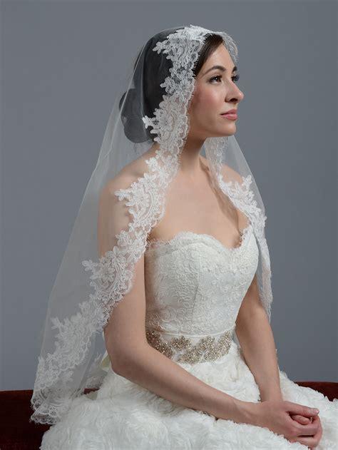 Wedding Veil by Ivory Cathedral Alencon Lace Wedding Veil V033c